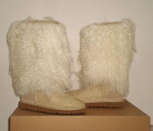 9ff7f995b3e Details about UGG Australia Women's Mongolian TALL SHEEPSKIN CUFF BOOT 5US  Sand NWB