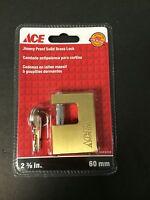Ace Hardware 2 3/8 In. 60mm Jimmy Proof Solid Brass Lock W/2 Keys 5485008