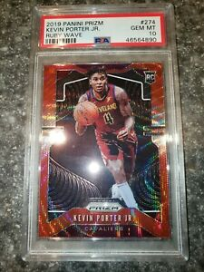 2019-20-Panini-Prizm-Red-Ruby-039-s-Wave-RC-Kevin-Porter-Jr-274-PSA-10-GEM-MINT