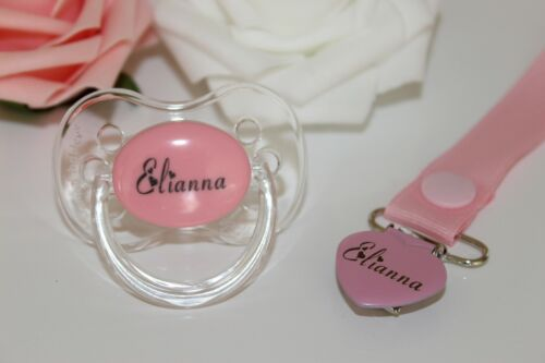 PERSONALISED DUMMY *CHERRY TEAT* DUMMY AND DUMMY CLIP *HEART FONT*