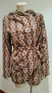 Womens-Thin-Fleece-Jacket-Brown-Patterned-Ladies-Size-M-L-Wrap-Style-NWT-NEW