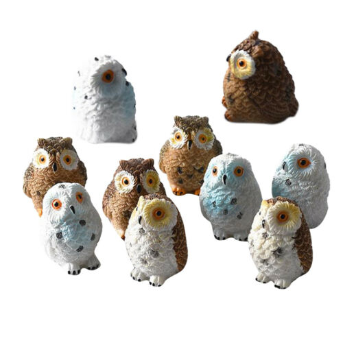 10x Eulen Tierfiguren Resin Miniaturen Craft Bonsai Töpfe Ornament Dekor