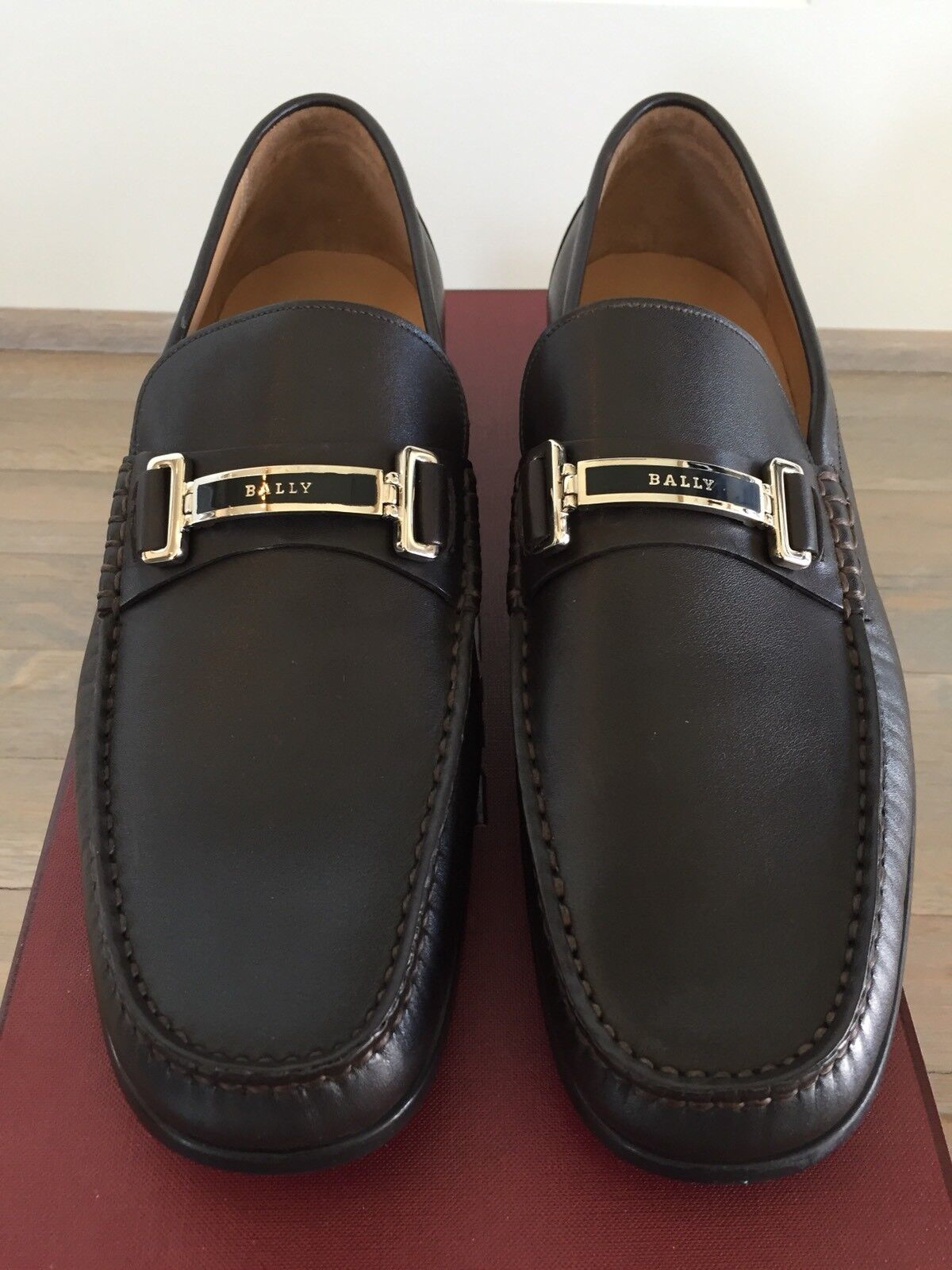 650$ Bally Brown Terenz Leather Loafers Size uomo US 10.5 Made in Switzerland Scarpe classiche da uomo Size fbf131