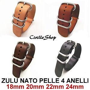 CINTURINO-OROLOGIO-PELLE-G10-NATO-ZULU-4-ANELLI-ARGENTO-18mm-20mm-22mm-24mm