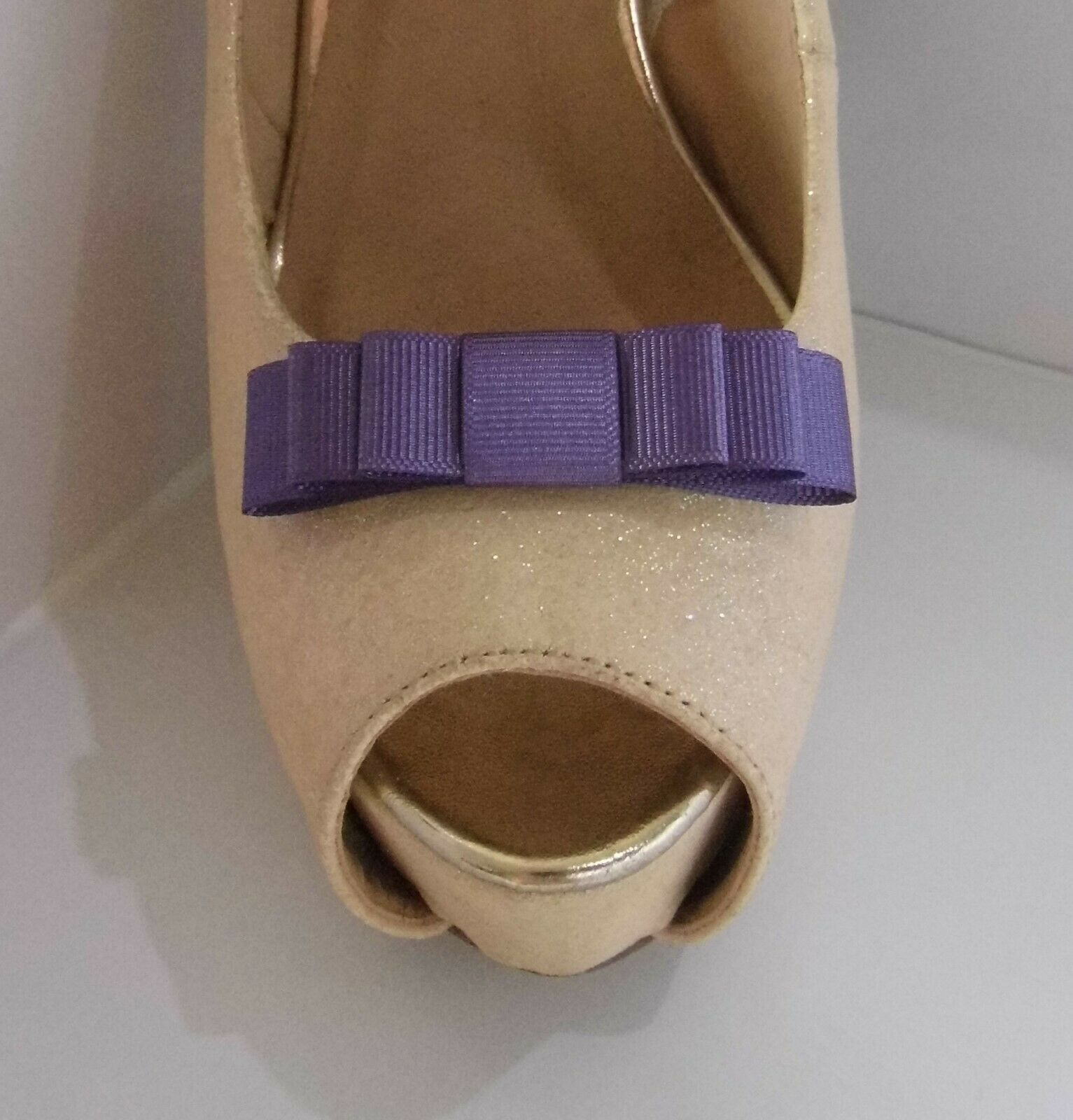 2 Small Triple Plum Grosgrain Shoe Clips - other colours on request