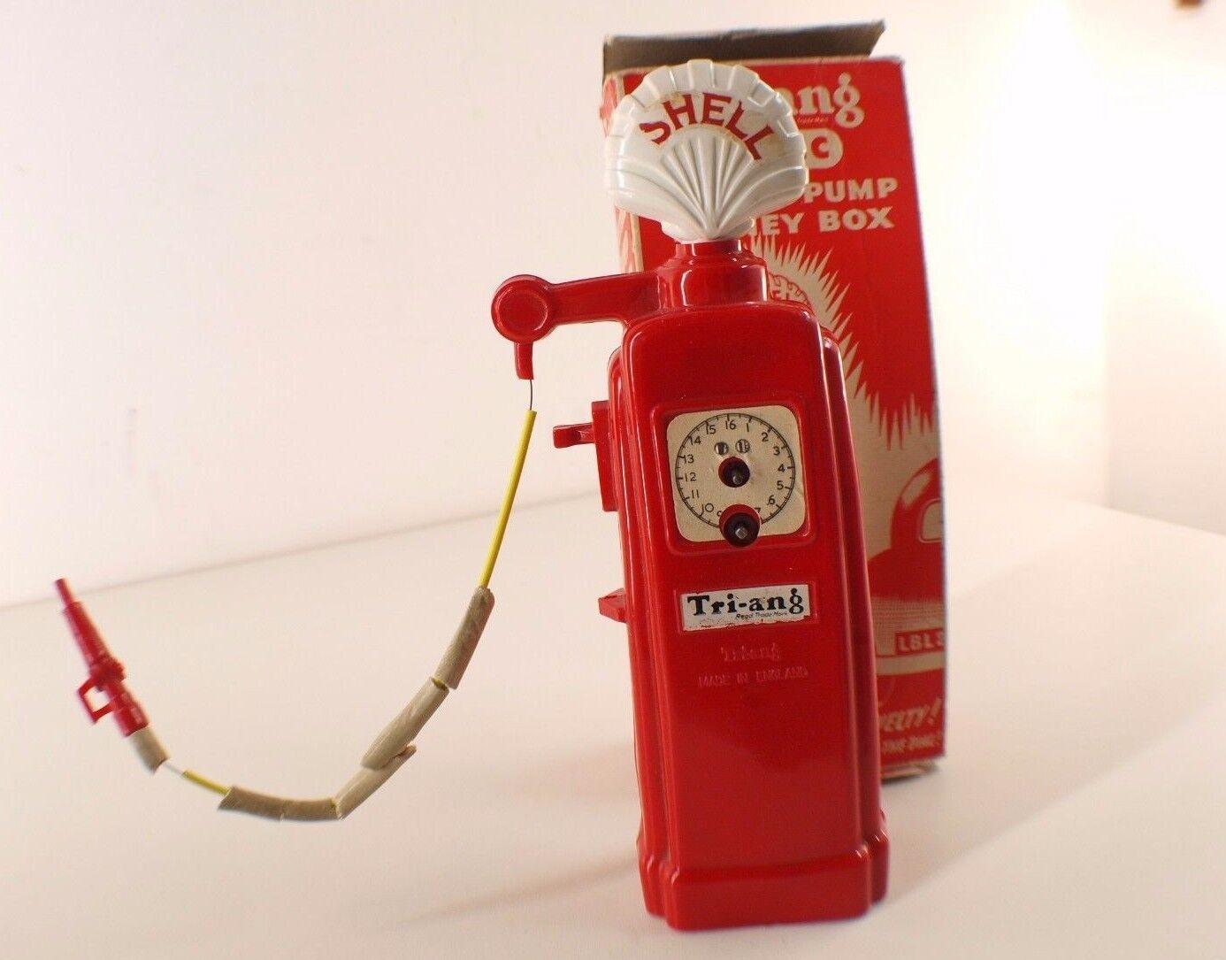 Tri-Ang Minic Gasolinera Pump Shell Money Box Poco Común 22 cm en Caja