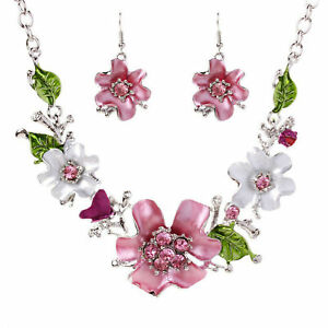 Halskette-Statement-Kristall-Strass-Blume-Kette-Collier-Ohrring-Schmuck-Set-Mode