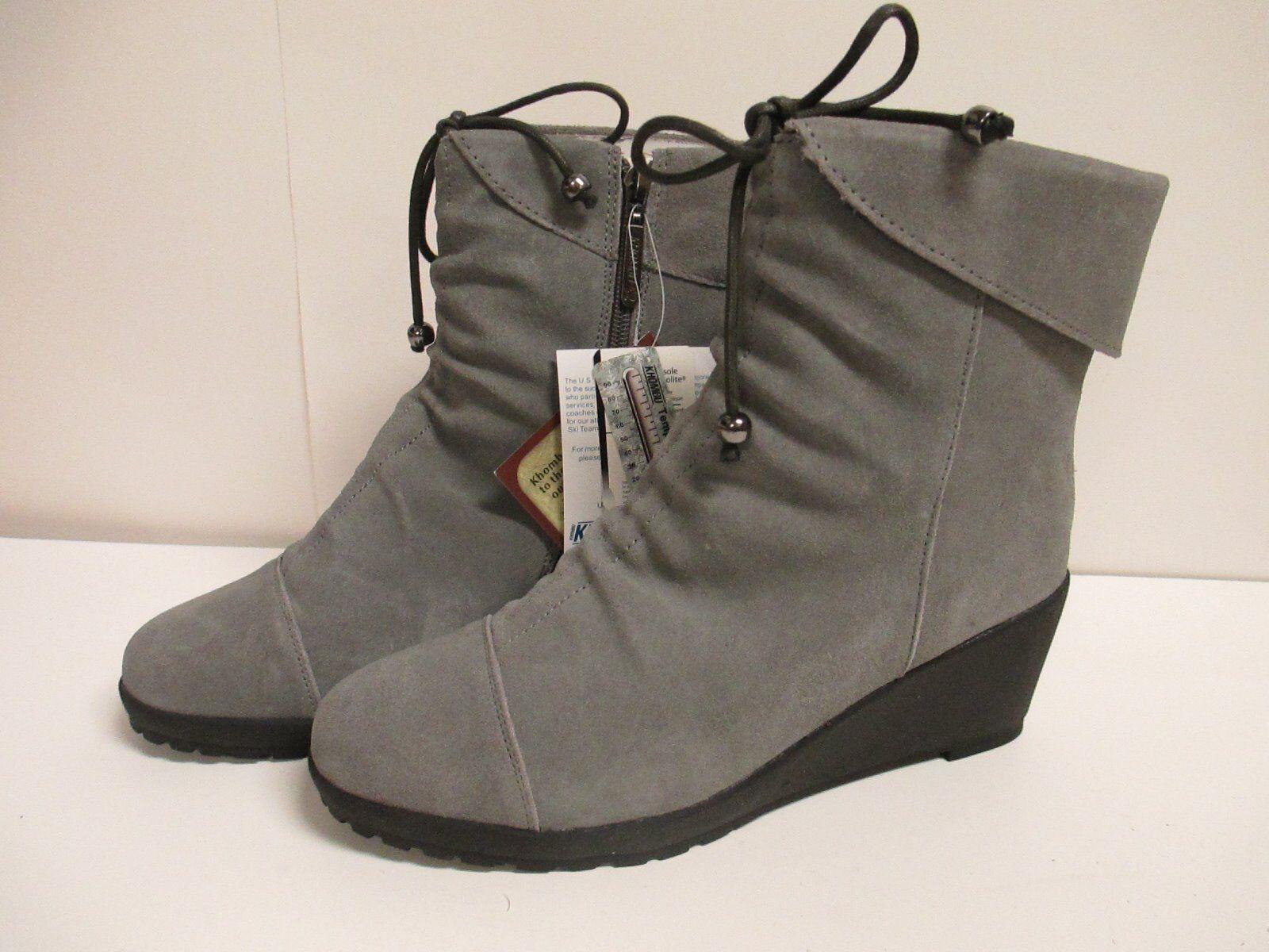 Khombu Sundown Wedge Heel Boot 9 M Grau New w/ Box