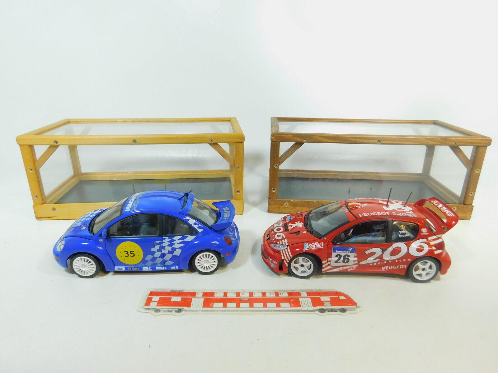 BP492-6  2x Solido 1 18 Voiture de Course  VW New Beetle  Peugeot 206 WRC