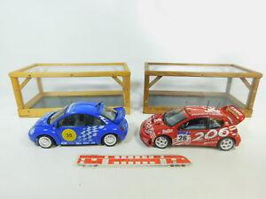 Bp492-6-2x-SOLIDO-1-18-Voiture-de-course-VW-New-Beetle-Peugeot-206-WRC