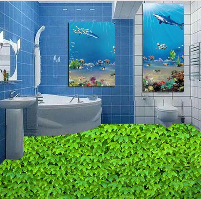 3D naturaleza Hojas verdes Papel Pintado Mural Parojo Impresión de suelo 9 Calcomanía 5D AJ Wallpaper