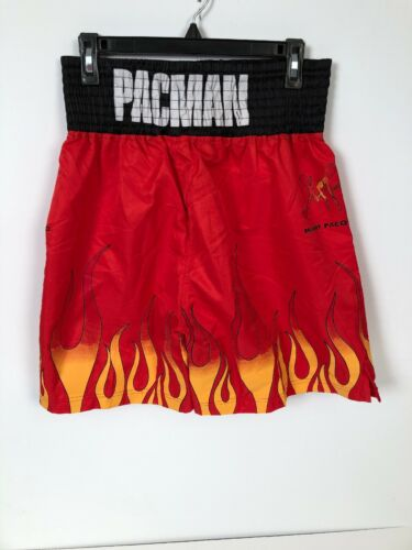 Manny Pacquao Mens Boxing Shorts Size 32 Red Fire