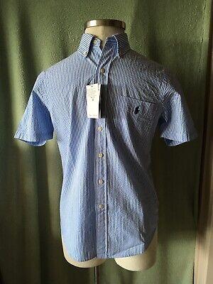 Mens Ralph Lauren Blue Stripe Seersucker Cotton Ss Classic Dress