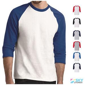 27140ec6412a99 Raglan 3/4 Sleeve New Plain T-Shirt Baseball Tee S-3XL Jersey Sports ...