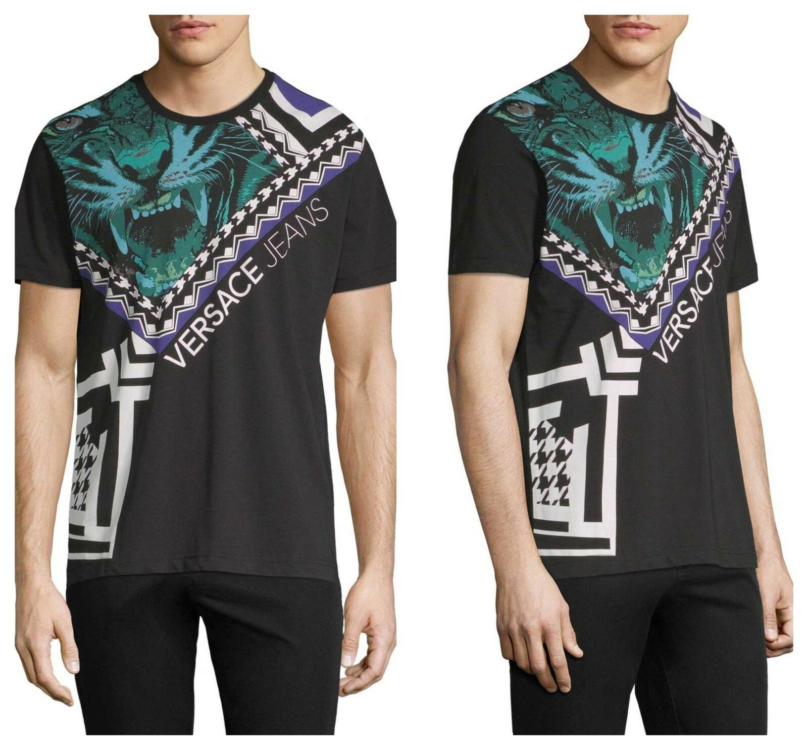 AUTH VERSACE  MERCURY  TIGER  GRAPHIC COTTON  TEE  T-SHIRT  TOP  Sz S NWT   295