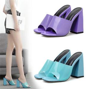 Ladies-Purple-Blue-Perspex-Mules-Women-High-Block-Heel-Peep-Toe-Party-Shoes-Size