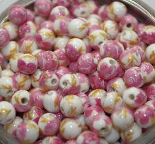 25pcs pink peony flower Round Ceramic beads Spacer bead loose bead 8mm DF105