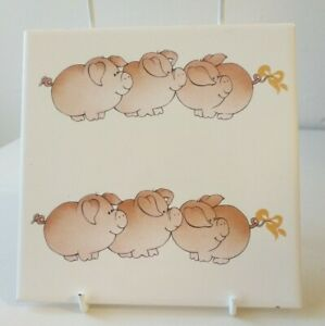 Czech-Republic-Vintage-Collectable-Cute-Pig-Farm-Animal-Decorative-Tile