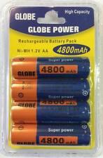 Globe Power 4er Pack Akku Batterie AA 4800mAh 1.2 V Rechargeable Wiederaufladbar