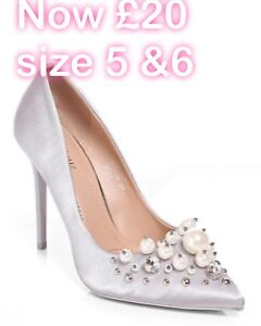 b49904780899 Image is loading Grey-Silver-Pearl-Crystal-Stiletto-Heels-shoes-Wedding-