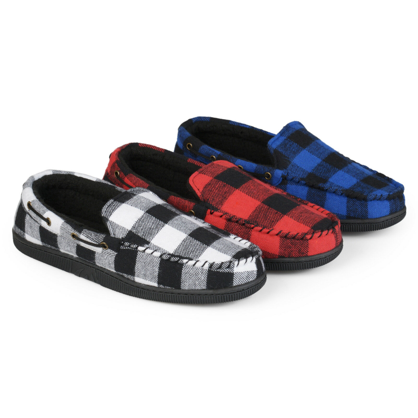 Territory Mens Plaid Faux Sherpa Lined Mocassin Slippers New
