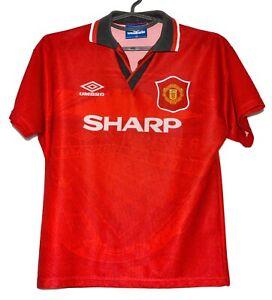 Manchester United 1994/1995/1996 Calcio Casa maglietta jersey Umbro taglia L Ragazzi