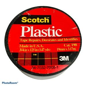 """3M SCOTCH Black Colored Plastic Tape for Repair and ID, 3/4"""" x 125"""" 3.47 yds NEW"""