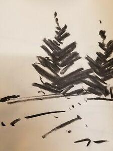 "JOSE TRUJILLO - Original Charcoal Paper Sketch Drawing 12"" Modern Pines Trees"