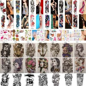 Full-Arm-Leg-Temporary-Tattoos-sleeve-Skull-amp-Snake-Stickers-Body-Art-Waterproof