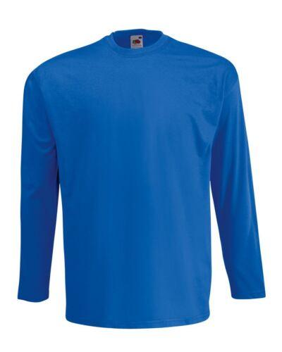 Men/'s Fruit of the Loom Long Sleeve T Shirt Plain Tee Shirt Top Cotton S-5XL