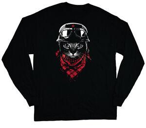long sleeve t-shirt for men hipster cool cat black cat design tee ...
