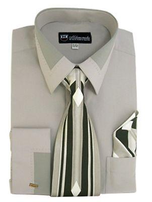Tie Handkerchief Set Spread Collar Sg34 50% OFF New Men's French Cuff Dress Shirt
