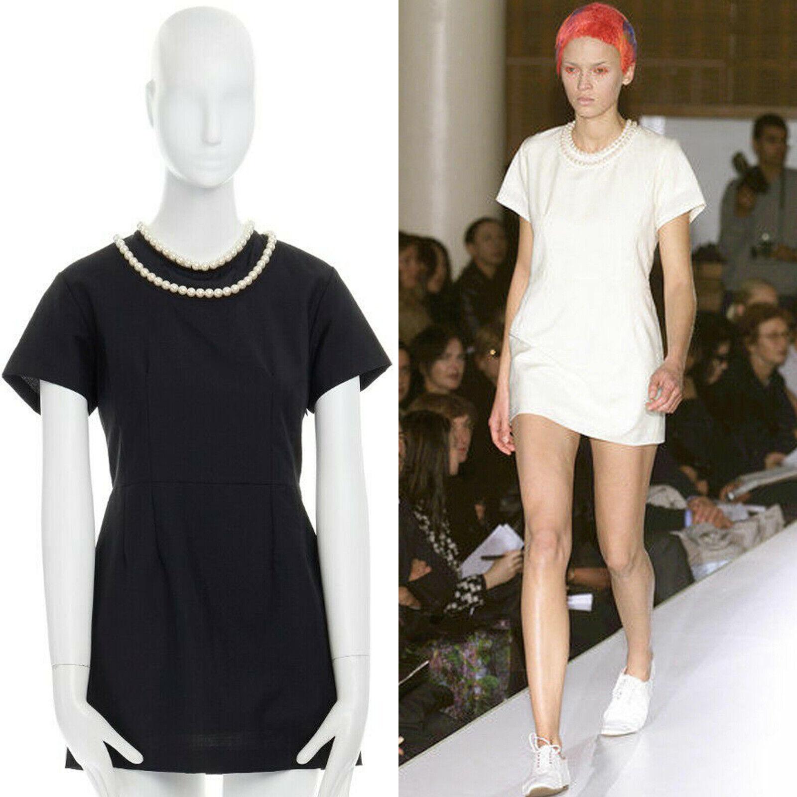 Mini Vestido JUNYA  WATANABE SS2001 Negro Trenzado Collar de perlas Dos Capas S  entrega gratis