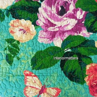 CYNTHIA ROWLEY Floral Butterfly 3PC FULL QUEEN QUILT SET aqua purple red NEW