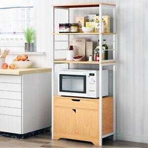 Details About Shelving Kitchen Tower Storage Microwave Cabinet Drawer Shelf Wooden Metal Frame
