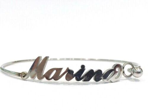 Bracciale rigido con nome Marina in acciaio inossidabile anallergico