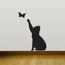 Cat Catching butterfly home Vinyl Wall Sticker Decor Decal Mural KItchen Pet