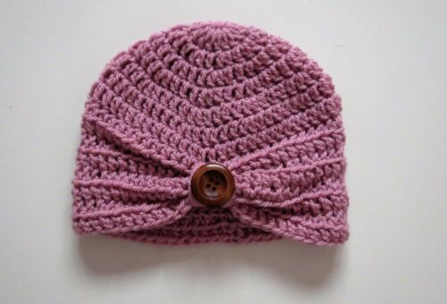 Handmade Baby Turban Hat with Wooden Button In Pale Rose in sizes 0 to 12 mths