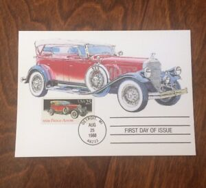 US-STAMPS-1929-PIERCE-ARROW-CLASSIC-CAR-FIRST-DAY-ISSUE-MAXIMUM-CARD-1988-Dr-Jim