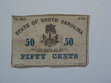 Civil War Confederate 1863 50 Cents Note South Carolina Paper Money Currency VTG