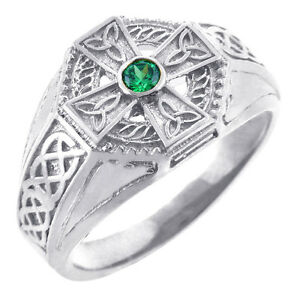Celtic ring avec synthétique Emeraude Taille 925 Argent Sterling