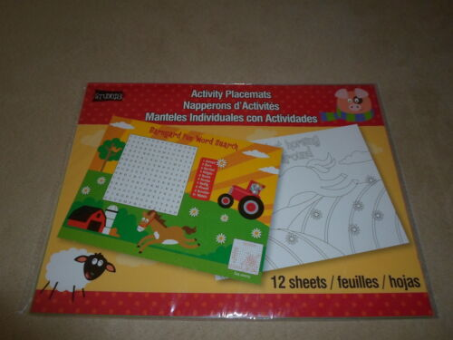"""11/"""" X 8 1//4/"""" Set Of 12 Assorted Paper Farm Activity Placemats NEW IN PACKAGE!!"""