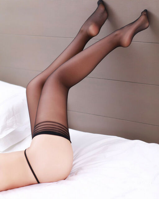 Fashion Women Black Sexy Lace Top Nylon Stay Up Thigh High Knee Stocking Tights