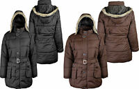 Womens Bomber Jacket With Detachable Hoodie Ladies Warm Hooded Long Coat 8-14