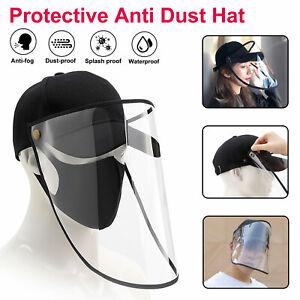 Splash-Face-Saliva-proof-Anti-fog-Cap-Full-Face-Protective-Shield-Clear-Sun-Hat