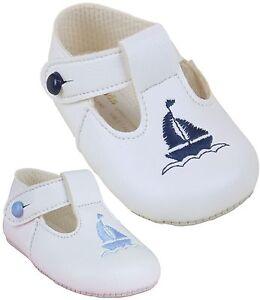 b1d9f7cbfe9 BabyPrem Baby Clothes Boys White Blue Pre-Walker Soft Pram Shoes 0 ...