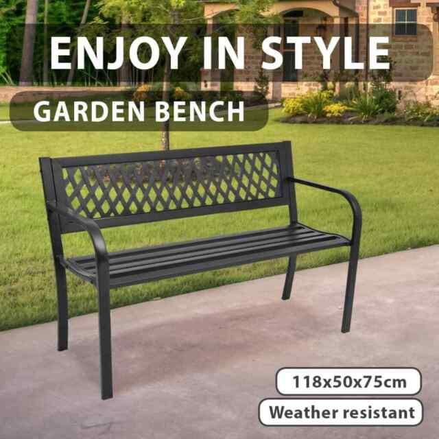 vidaXL Garden Bench 118cm Steel Black Park Chair Seat Vintage Relaxation