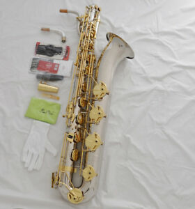 Professional-Taishan-Silver-Nickel-Gold-Eb-Baritone-Saxophone-Low-A-2neck-Case