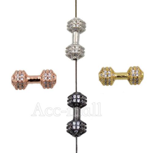 Haltère Zircon Micro Pave Pierres Précieuses connecteur charme perles bracelet or argent