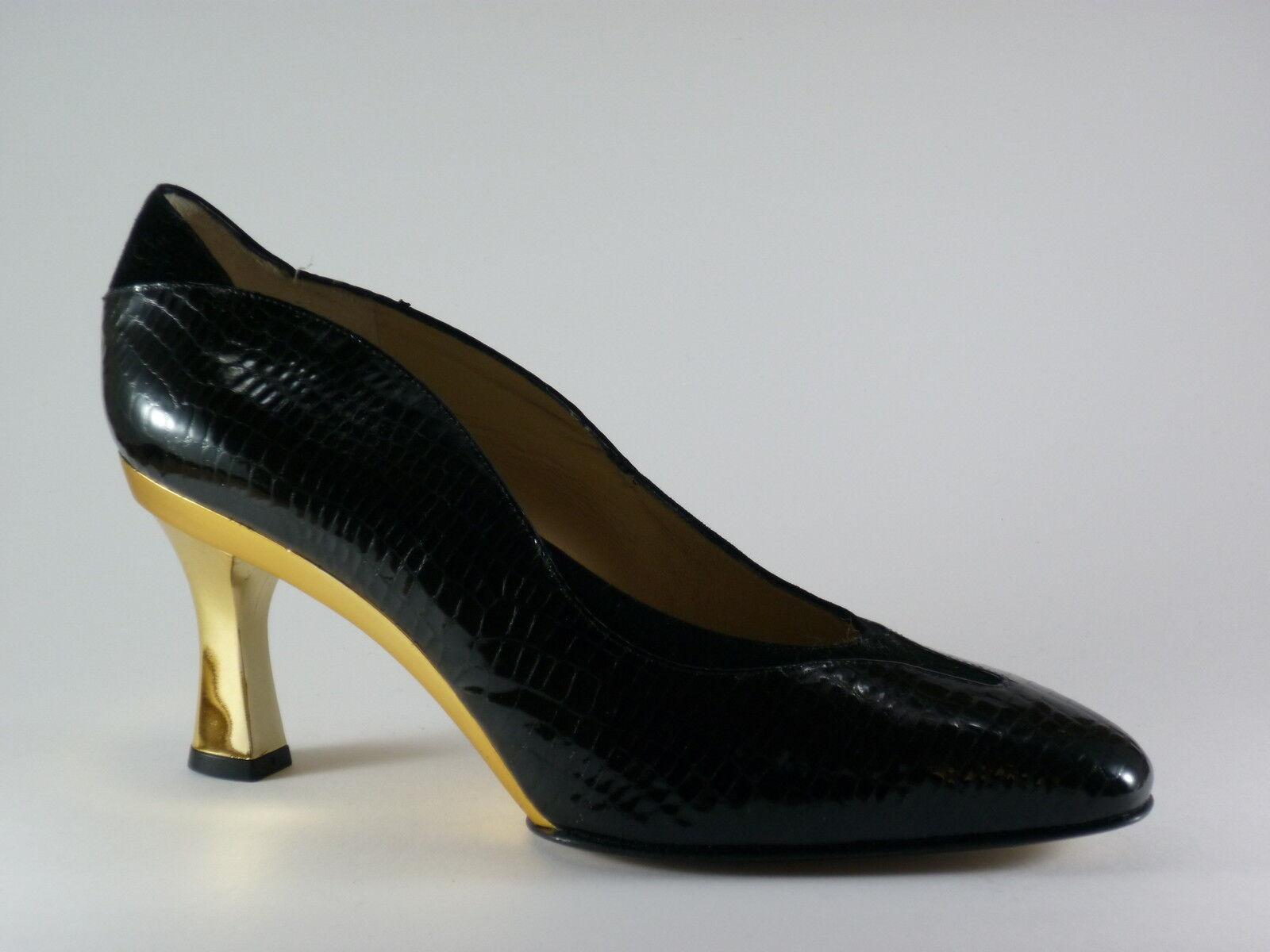 MARCANTONI Damen Gold Schuhe 40 Lack Velour Schwarz Gold Damen Abendschuhe Pumps NEU f2ce8e